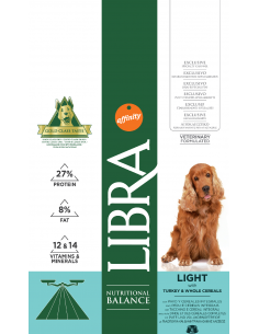 Libra Dog Adult Light 3 kg. Pinso Gossos Adults Totes les Races Sobrepes Gall d'Indi 8410650216614